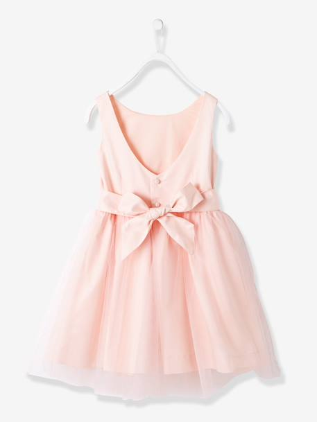 Girls' Sateen & Tulle Occasion Dress Blush+White