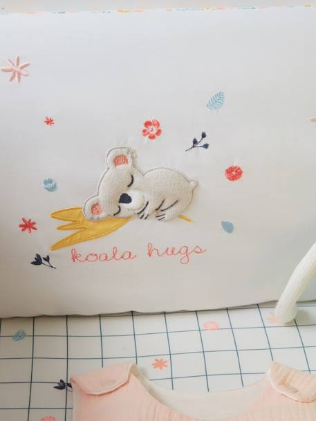 Adaptable Cot Bumper, Koala Hugs Theme WHITE LIGHT SOLID WITH DESIGN