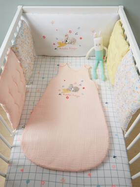 Image of Adaptable Cot Bumper, Koala Hugs Theme white light solid with design