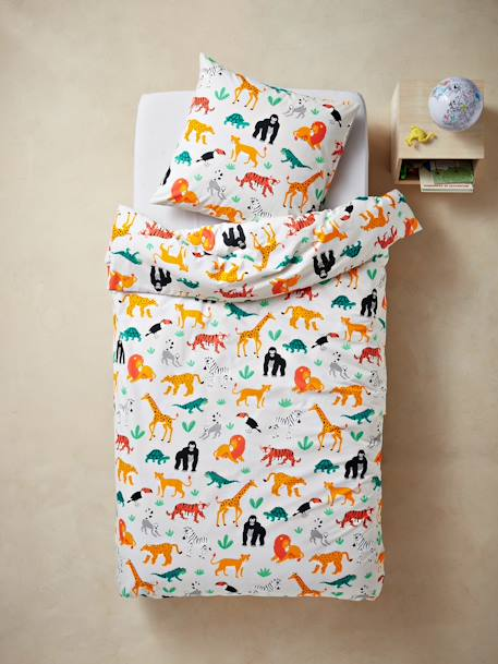 Duvet Cover + Pillowcase Set, JUNGLE SPIRIT Theme GREY LIGHT ALL OVER PRINTED