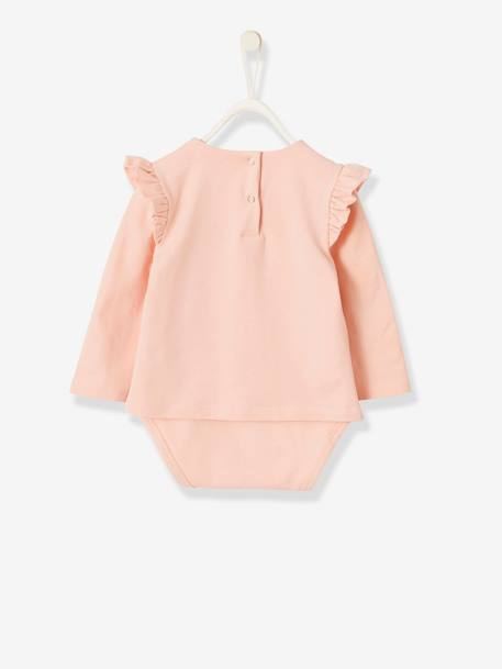 Bodysuit Top with Frills on the Shoulders for Babies PINK LIGHT SOLID WITH DESIGN