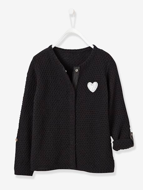 Girls' Pretty Cardigan Black+Ecru+GREY MEDIUM SOLID WITH DESIGN