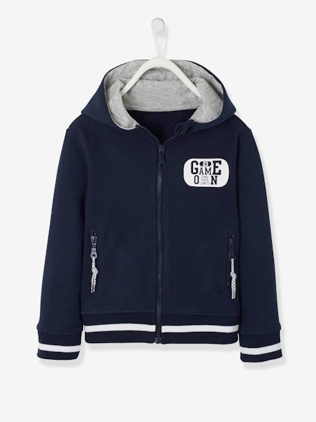 28ac3993e Sports Jacket with Zip for Boys - blue dark solid with design, Boys |  Vertbaudet