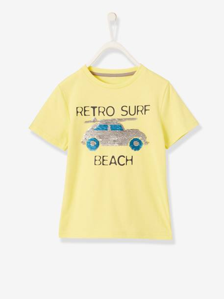 Fun T-Shirt with Reversible Sequins for Boys BLUE DARK SOLID WITH DESIGN+GREY LIGHT MIXED COLOR+WHITE LIGHT SOLID WITH DESIGN+YELLOW LIGHT SOLID WITH DESIGN