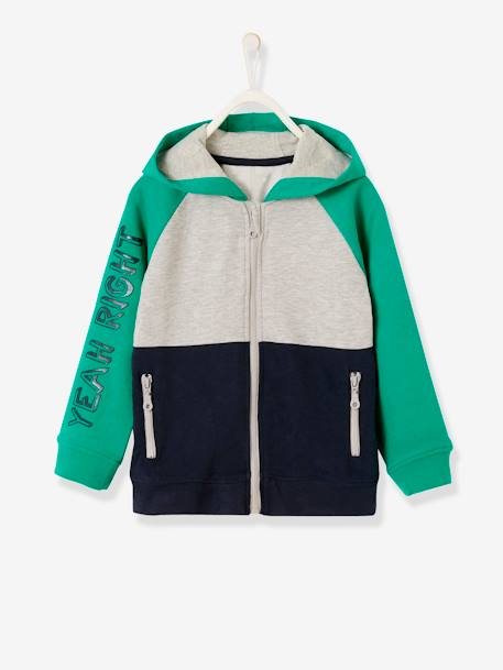 Colour Block Jacket with Zip for Boys GREEN BRIGHT SOLID WITH DESIG+RED DARK SOLID
