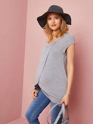 Maternity-Nursing T-Shirt with Crossover Panels