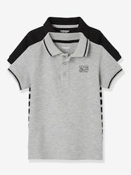 Boys-Tops-Pack of 2 Piqué Knit Polo Shirts for Boys