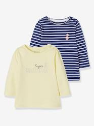 Baby-T-shirts & Roll Neck T-Shirts-Pack of 2 Long-Sleeved Tops for Baby Girls