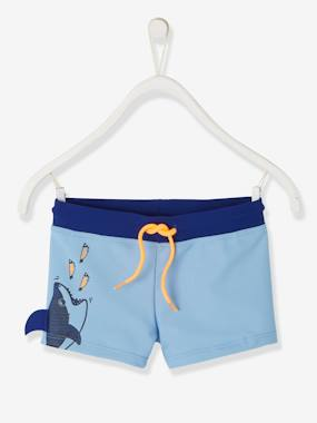 Click to view product details and reviews for Swim Shorts With Fun Shark For Boys Blue Medium Solid With Design.