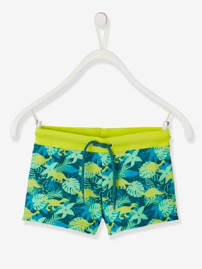Click to view product details and reviews for Swim Shorts With Exotic Motif For Boys Green Dark All Over Printed.