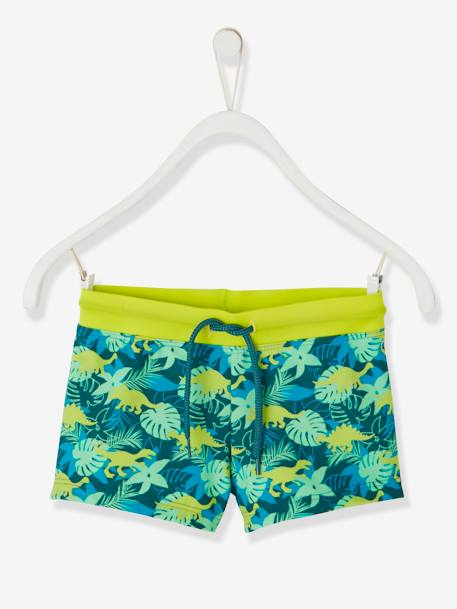 Swim Shorts with Exotic Motif, for Boys GREEN DARK ALL OVER PRINTED