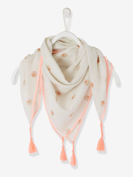Scarf with Tassels & Shells for Girls WHITE LIGHT ALL OVER PRINTED