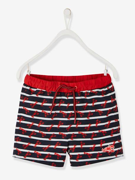 Striped Swim Shorts, with Lobsters, for Boys BLUE DARK STRIPED
