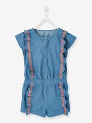 Girls-Dungarees & Playsuits-Jumpsuit with Embroidered Frills for Girls