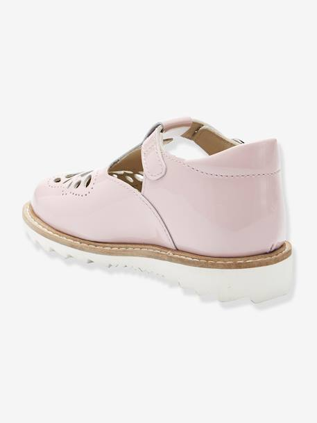 Patent Leather T-Strap Sandals for Girls, Designed for Autonomy BLUE DARK SOLID+PINK LIGHT SOLID