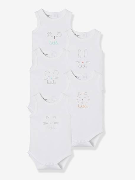 Babies' Pack of 5 Printed Sleeveless Bodysuits WHITE LIGHT SOLID WITH DESIGN
