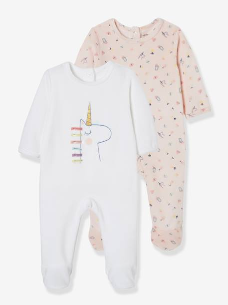 Pack of 2 Velour Sleepsuits for Babies, Press Studs on the Back WHITE LIGHT TWO COLOR/MULTICOL