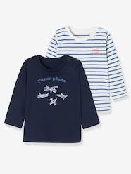 Baby-T-shirts & Roll Neck T-Shirts-Baby Boys' Pack of 2 Tops with Graphic Pattern Motif and Wording