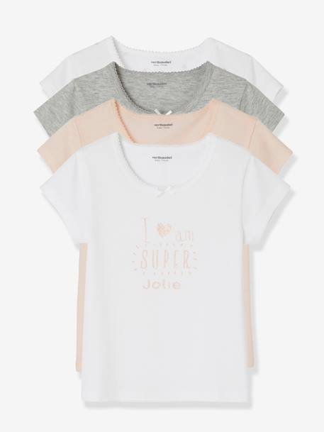 Pack of 4 Short-Sleeved T-Shirts for Girls GREY LIGHT MIXED COLOR