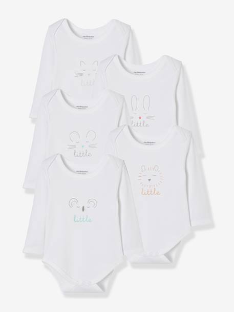 Baby Pack of 5 Long-Sleeved Printed Bodysuits WHITE LIGHT SOLID WITH DESIGN
