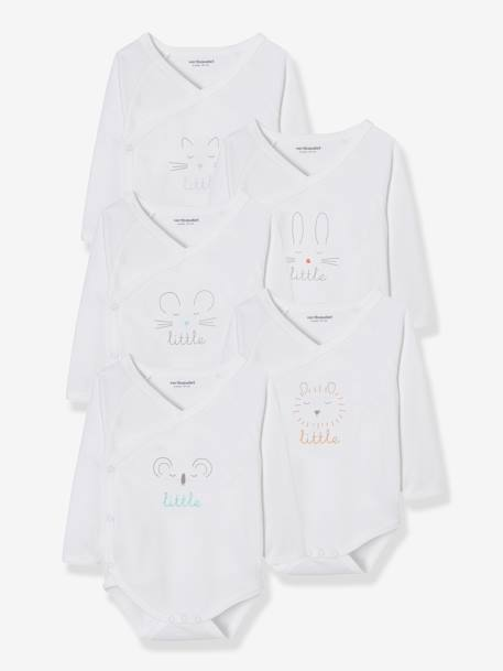 Newborn Baby Pack of 5 Long-Sleeved Bodysuits with Graphic Print WHITE LIGHT SOLID WITH DESIGN