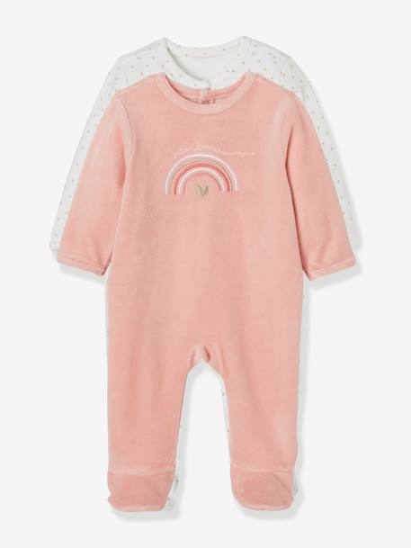 Pack of 2 Velour Sleepsuits for Babies WHITE LIGHT TWO COLOR/MULTICOL