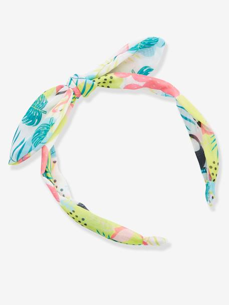 Ribbon-Type Alice Band with Tropical Print for Girls BLUE LIGHT ALL OVER PRINTED