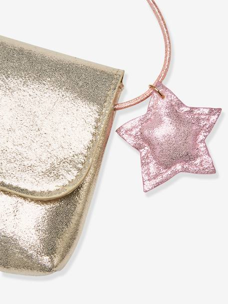 Iridescent Clutch Bag with Decorative Star, for Girls BEIGE MEDIUM SOLID