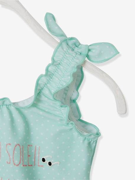 1-Piece Swim Suit for Baby Girls, Embroidered Motif GREEN LIGHT ALL OVER PRINTED