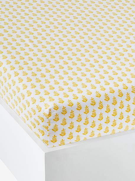 Children's Fitted Sheet, Pineapple Split Theme YELLOW MEDIUM ALL OVER PRINTED