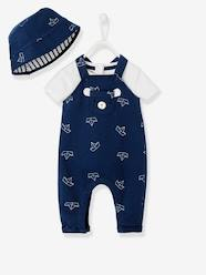 Baby-Outfits-Newborn Baby Ensemble, Hat, Bodysuit and Dungarees