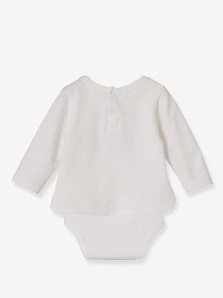 Bodysuit Top for Babies, with Rabbit WHITE LIGHT SOLID WITH DESIGN