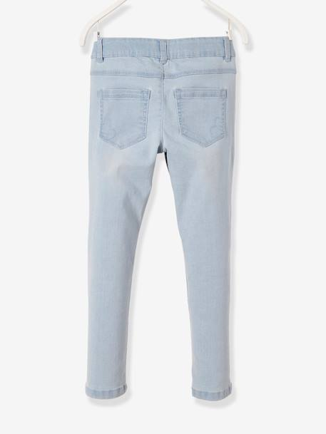 LARGE Fit, Girls' Slim Fit Jeans BLUE DARK SOLID+BLUE DARK WASCHED+BLUE LIGHT WASCHED+GREY MEDIUM WASCHED