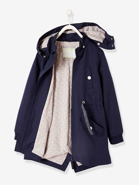Parka with Detachable Hood for Girls BLUE DARK SOLID+GREEN DARK SOLID+PINK LIGHT SOLID
