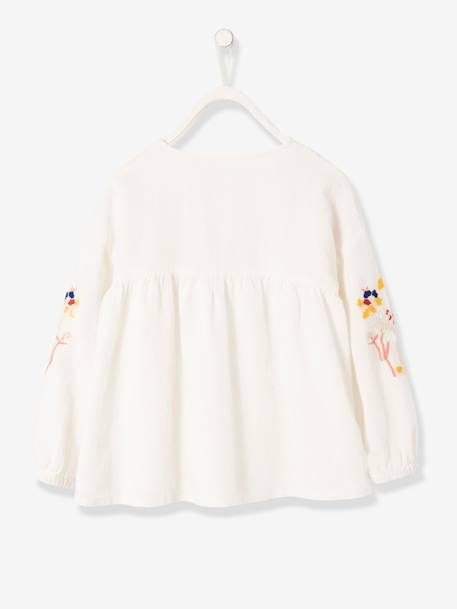 Blouse with Embroidered Long Sleeves for Girls WHITE LIGHT SOLID WITH DESIGN