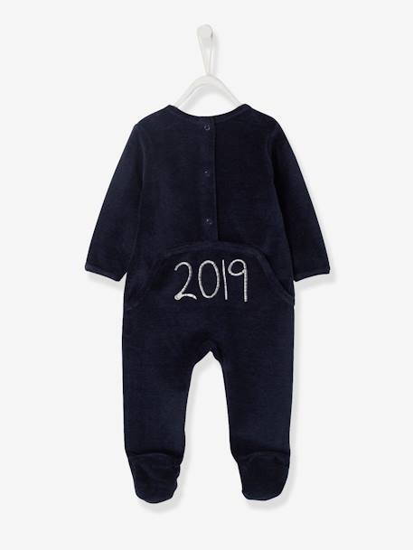 Marled Velour Sleepsuit for Babies, Press Studs on the Back BLUE DARK MIXED COLOR
