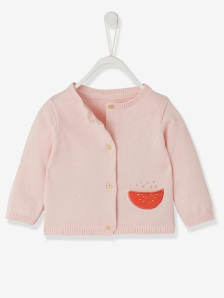 Cardigan for Babies, with Watermelon Pocket PINK LIGHT SOLID WITH DESIGN