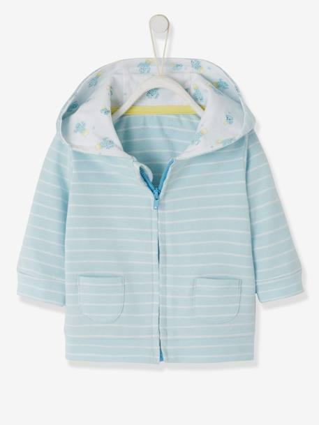 Striped Jacket, with Zip, for Baby Boys BLUE LIGHT STRIPED