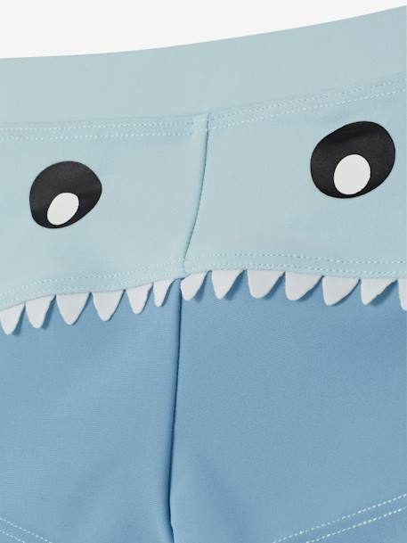 Swim Shorts for Babies with Cheeky Shark Head Motif BLUE LIGHT SOLID