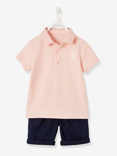 Polo Shirt + Bermuda Shorts Ensemble for Boys PINK LIGHT SOLID