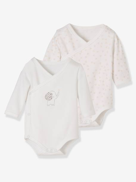 Pack of 2 Organic Cotton Bodysuits for Newborns BEIGE LIGHT ALL OVER PRINTED+BEIGE LIGHT STRIPED+BEIGE MEDIUM ALL OVER PRINTED