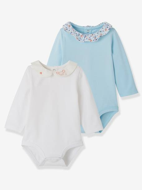 Pack of 2 Bodysuits with Fancy Collar for Newborns BLUE LIGHT TWO COLOR/MULTICOL