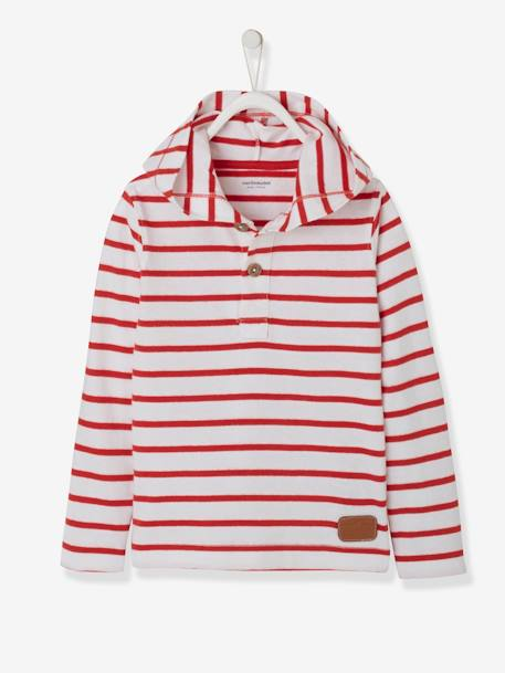 Striped Hooded Top for Boys BLUE DARK STRIPED+RED DARK STRIPED