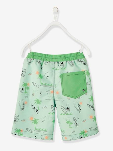 Swim Shorts for Boys, Surfing Motifs & Palm Tree Badge GREEN LIGHT ALL OVER PRINTED