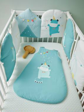 Image of Adaptable Cot Bumper, Baby Circus Theme blue medium solid with design