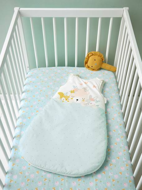 Sleeveless Baby Sleep Bag, Love in the Forest Theme GREEN LIGHT SOLID WITH DESIGN