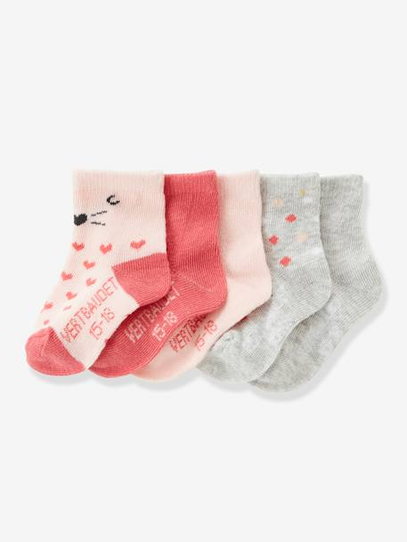 Pack of 5 Pairs of Baby Socks PINK LIGHT 2 COLOR/MULTICOL R