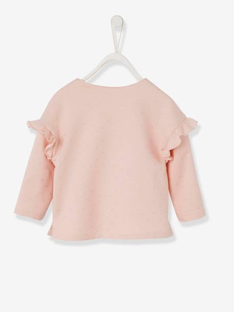 Sweatshirt with Press Studs, Frills on the Sleeves, for Baby Girls GREY LIGHT MIXED COLOR+PINK LIGHT ALL OVER PRINTED