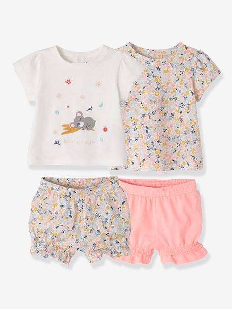 Pack of 2 Two-Piece Cotton Pyjamas for Babies WHITE LIGHT ALL OVER PRINTED
