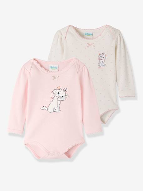 Pack of 2 Disney® Bodysuits for Baby Girls, Aristocat Motif WHITE LIGHT SOLID WITH DESIGN
